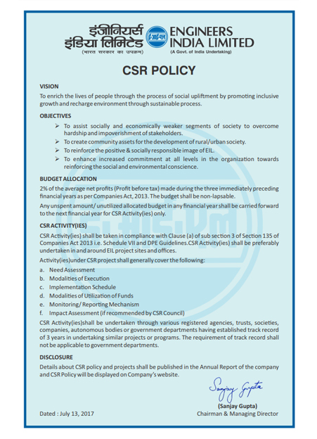 Policy on Corporate Social Responsibility