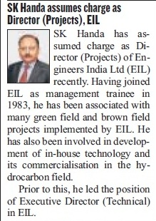 Shri S.K. Handa assumes charge as Director (Projects), EIL – Hindustan Times